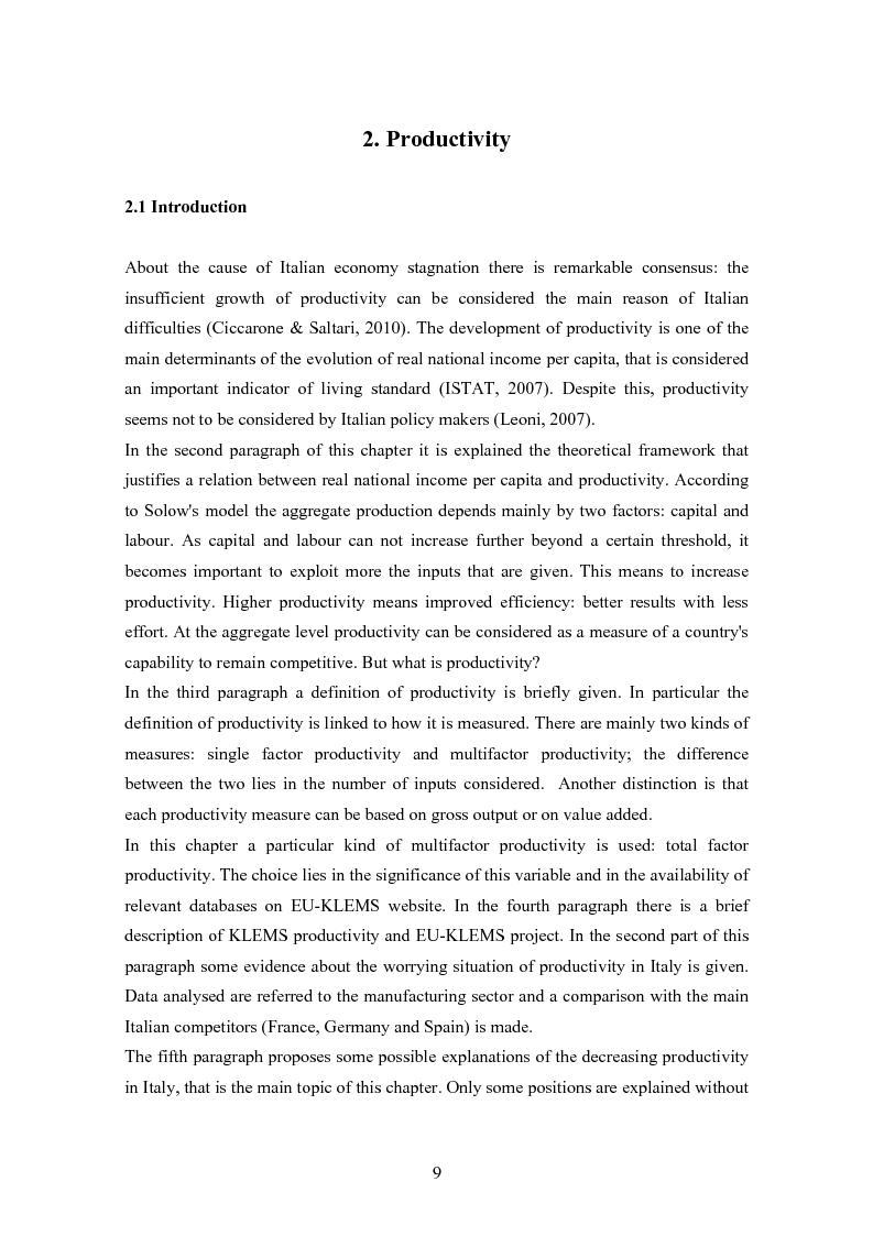 Anteprima della tesi: Why is Italian TFP decreasing? An Econometric Analysis Compares Italy with Other Three European Countries, Pagina 6