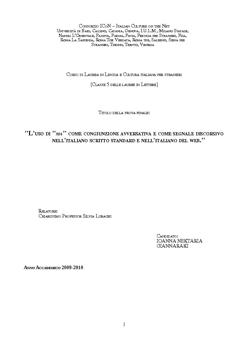 Anteprima della tesi: L'uso di ''ma'' come congiunzione avversativa e come segnale discorsivo nell'italiano scritto standard e nell'italiano del Web, Pagina 1