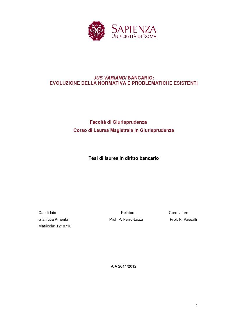 Anteprima della tesi: Jus variandi bancario: evoluzione della normativa e problematiche esistenti, Pagina 1