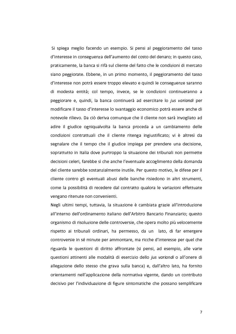 Anteprima della tesi: Jus variandi bancario: evoluzione della normativa e problematiche esistenti, Pagina 5
