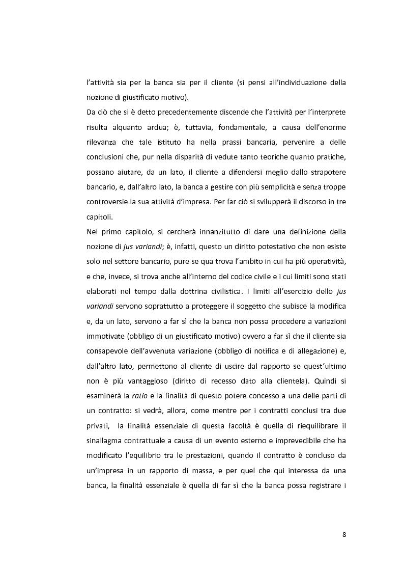 Anteprima della tesi: Jus variandi bancario: evoluzione della normativa e problematiche esistenti, Pagina 6