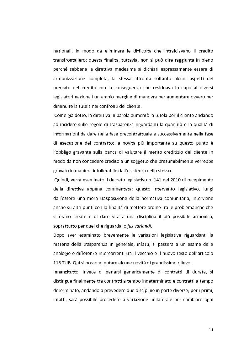 Anteprima della tesi: Jus variandi bancario: evoluzione della normativa e problematiche esistenti, Pagina 9