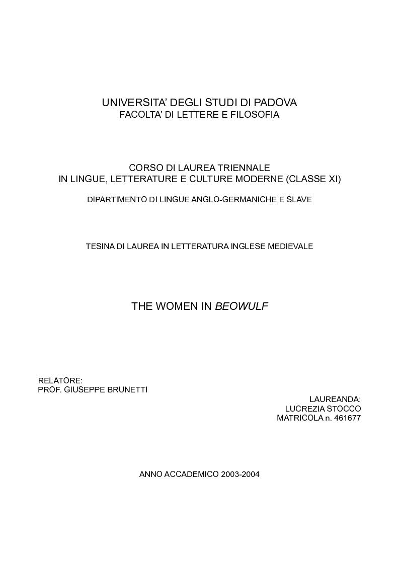 Anteprima della tesi: The Women in Beowulf, Pagina 1