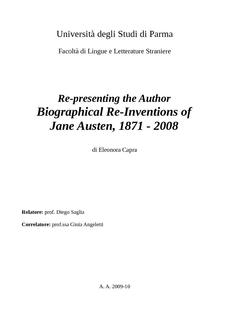 Anteprima della tesi: Re-presenting the Author: Biographical Re-Inventions of Jane Austen, 1871 - 2008, Pagina 1