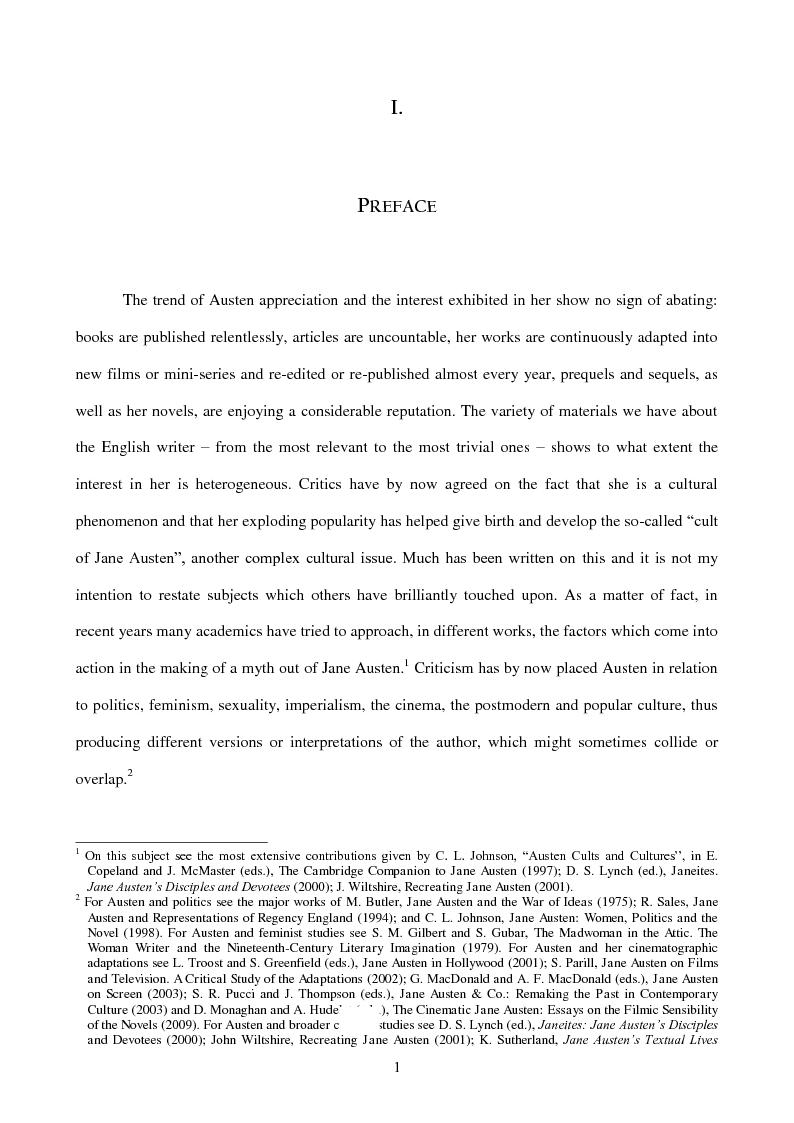Anteprima della tesi: Re-presenting the Author: Biographical Re-Inventions of Jane Austen, 1871 - 2008, Pagina 2