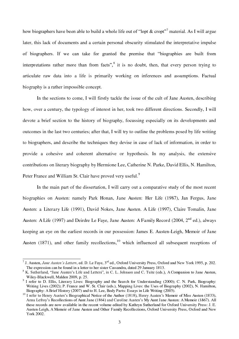 Anteprima della tesi: Re-presenting the Author: Biographical Re-Inventions of Jane Austen, 1871 - 2008, Pagina 4