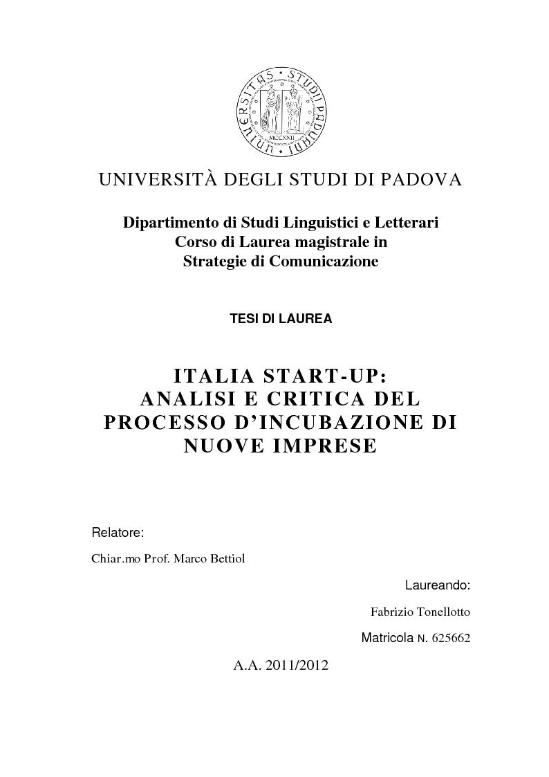 Anteprima della tesi: Italia start-up: analisi e critica del processo d'incubazione di nuove imprese, Pagina 1