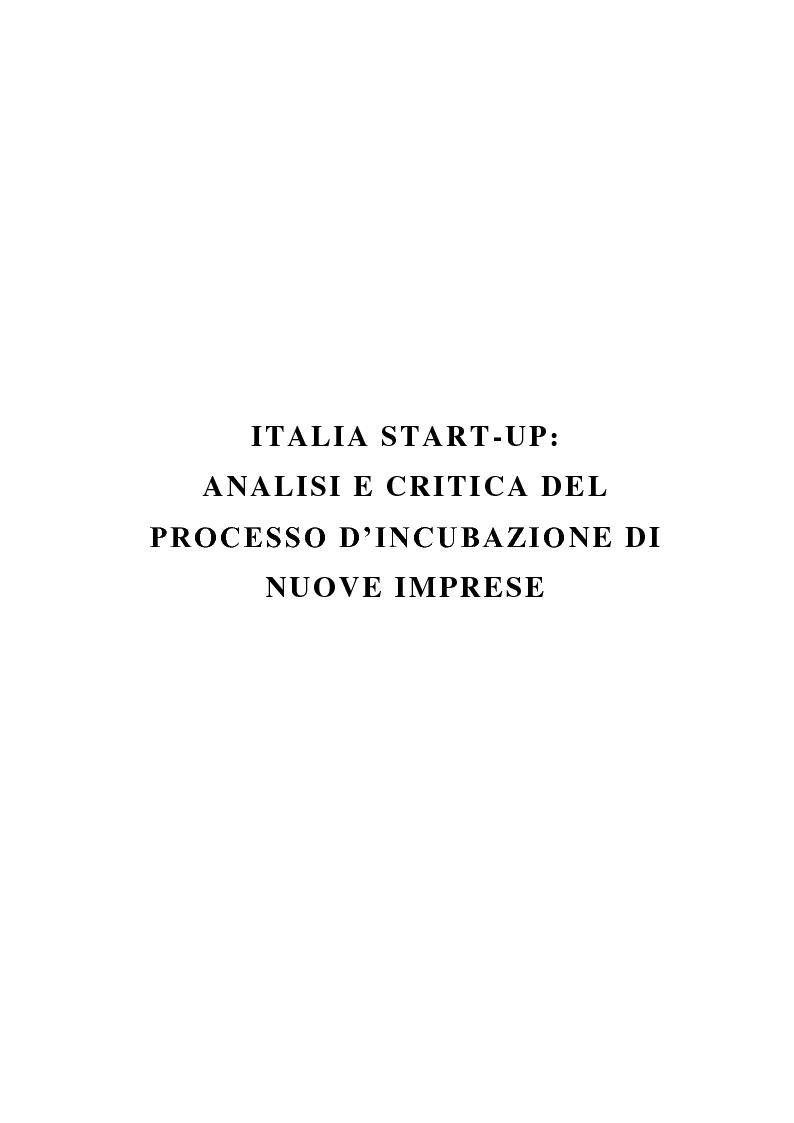 Anteprima della tesi: Italia start-up: analisi e critica del processo d'incubazione di nuove imprese, Pagina 5