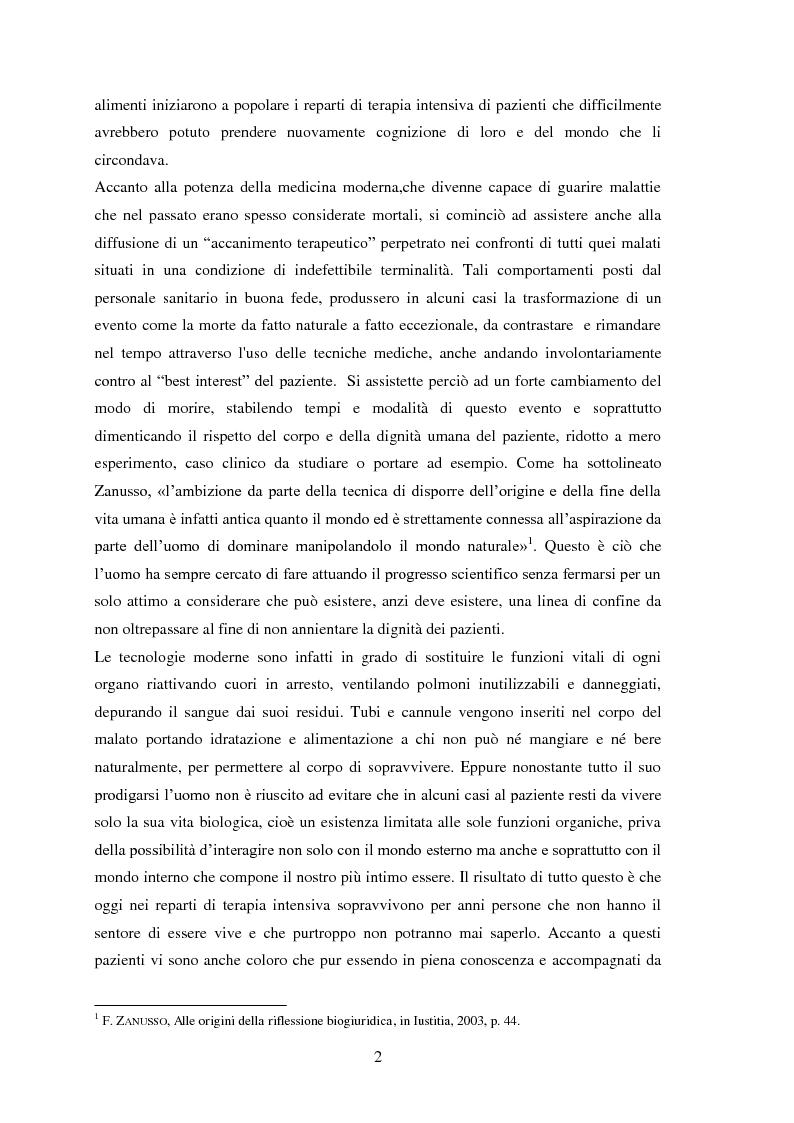 Anteprima della tesi: Testamento biologico e   principio di Autodeterminazione, Pagina 3