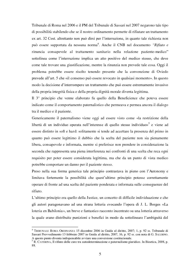Anteprima della tesi: Testamento biologico e   principio di Autodeterminazione, Pagina 6