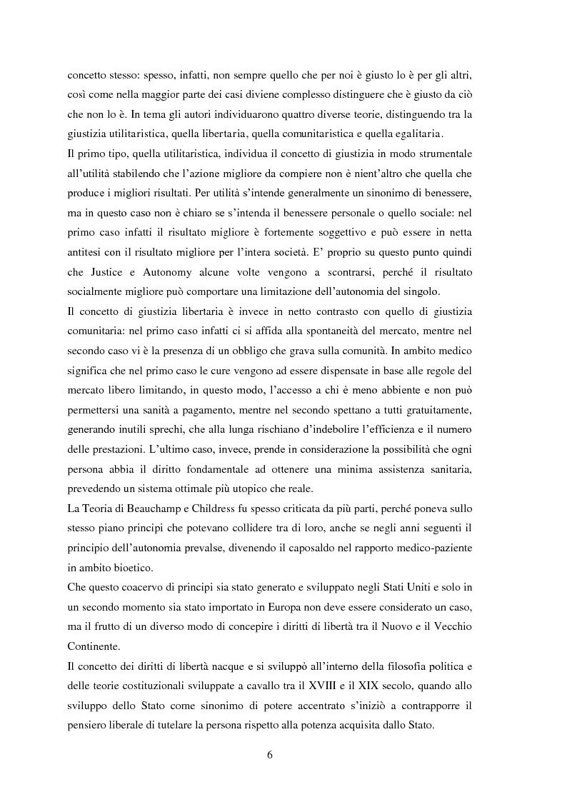 Anteprima della tesi: Testamento biologico e   principio di Autodeterminazione, Pagina 7