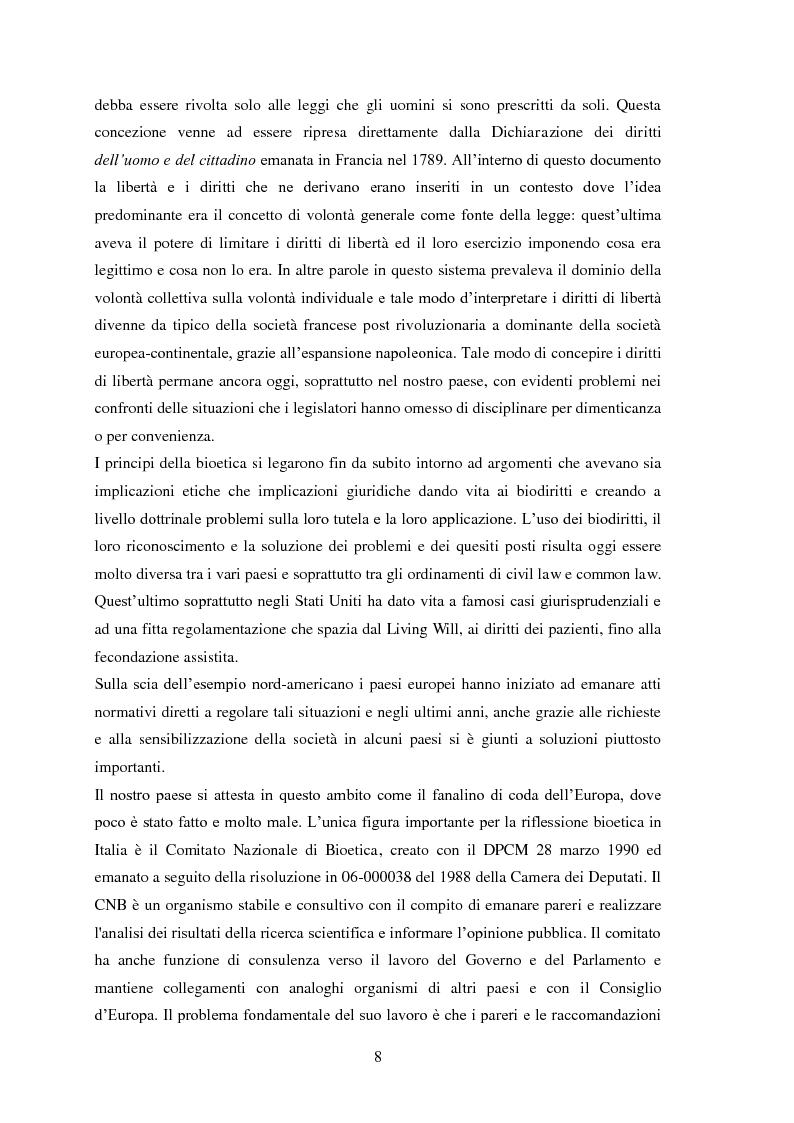 Anteprima della tesi: Testamento biologico e   principio di Autodeterminazione, Pagina 9