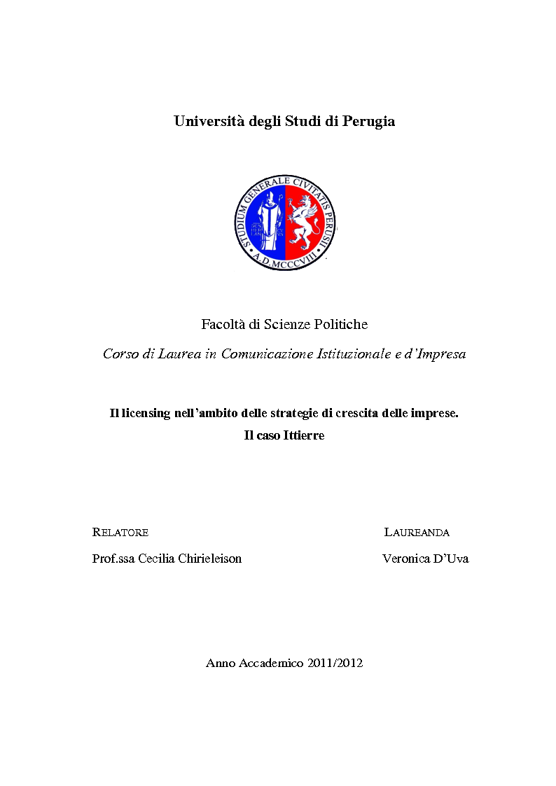 Anteprima della tesi: Il licensing nell'ambito delle strategie di crescita delle imprese. Il caso Ittierre, Pagina 1