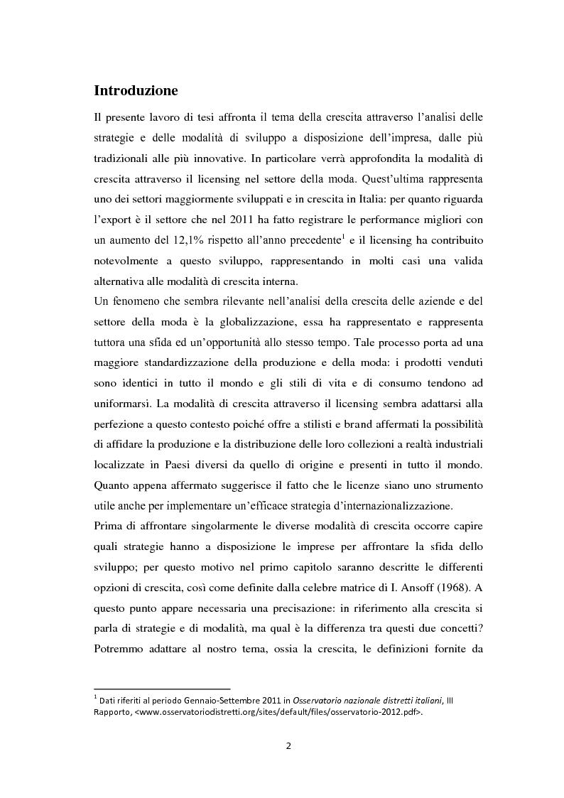 Anteprima della tesi: Il licensing nell'ambito delle strategie di crescita delle imprese. Il caso Ittierre, Pagina 2