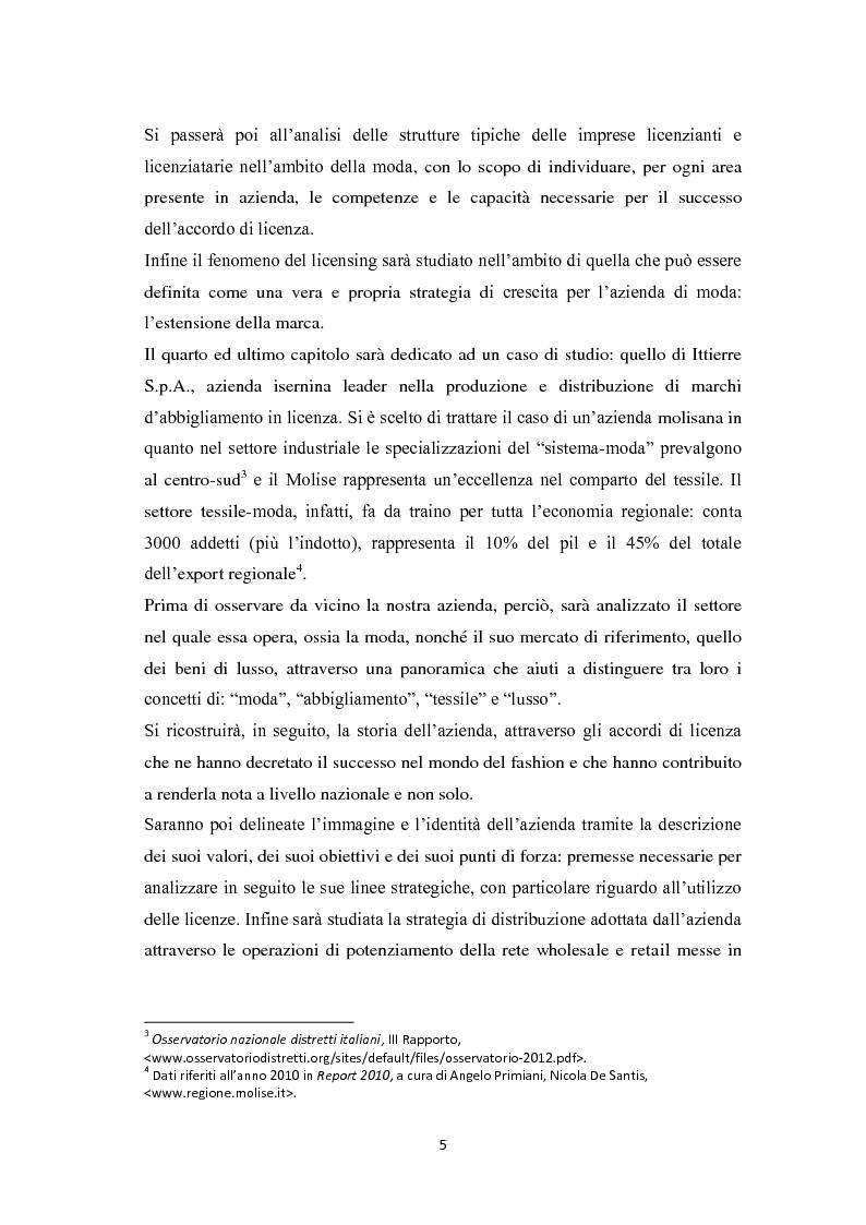 Anteprima della tesi: Il licensing nell'ambito delle strategie di crescita delle imprese. Il caso Ittierre, Pagina 5