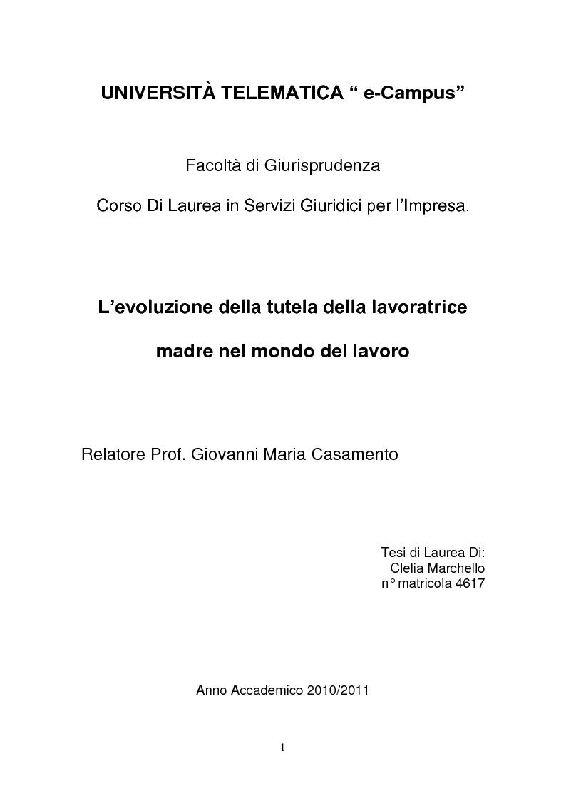 Anteprima della tesi: L'evoluzione della tutela della lavoratrice madre nel mondo del lavoro., Pagina 1