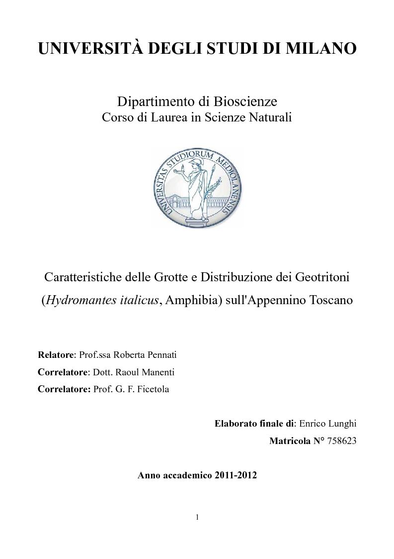 Anteprima della tesi: Caratteristiche delle Grotte e Distribuzione dei Geotritoni (Hydromantes italicus, Amphibia) sull'Appennino Toscano, Pagina 1