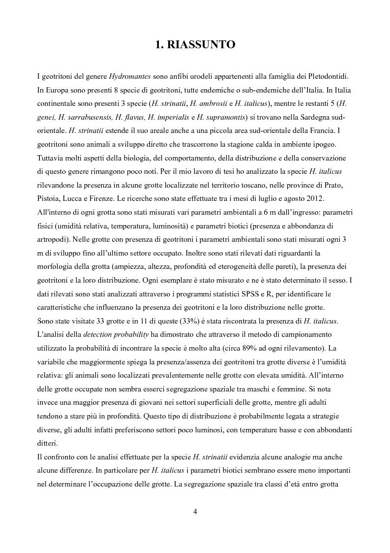 Anteprima della tesi: Caratteristiche delle Grotte e Distribuzione dei Geotritoni (Hydromantes italicus, Amphibia) sull'Appennino Toscano, Pagina 2