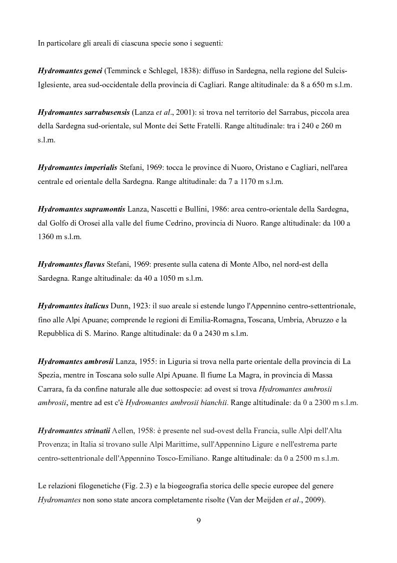 Anteprima della tesi: Caratteristiche delle Grotte e Distribuzione dei Geotritoni (Hydromantes italicus, Amphibia) sull'Appennino Toscano, Pagina 7