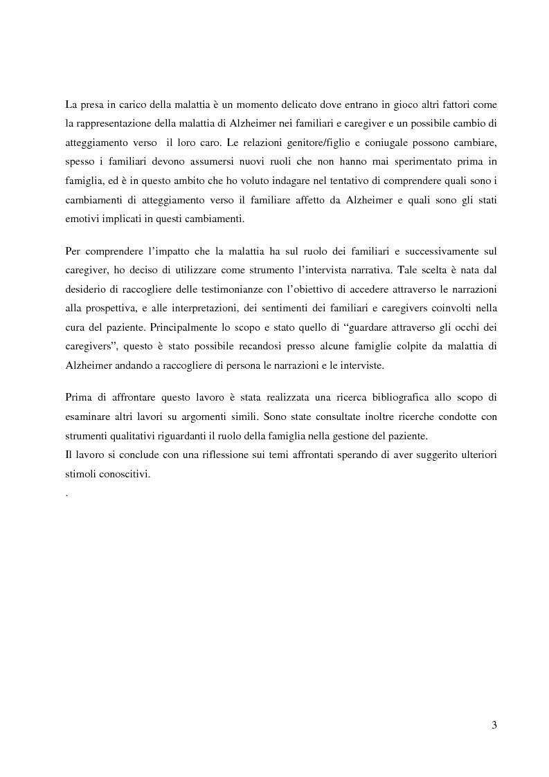 Anteprima della tesi: Ruolo dei caregivers nella malattia di Alzheimer, Pagina 3