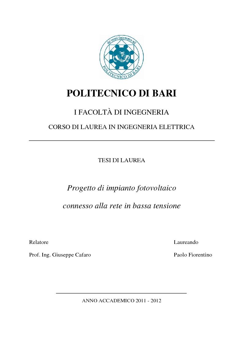 Anteprima della tesi: Progetto di impianto fotovoltaico connesso alla rete in bassa tensione, Pagina 1
