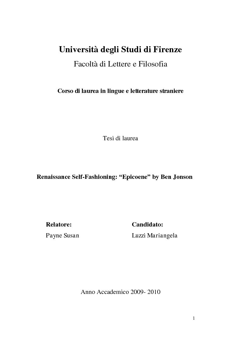 Anteprima della tesi: Renaissance Self-Fashioning: ''Epicoene'' by Ben Jonson, Pagina 1