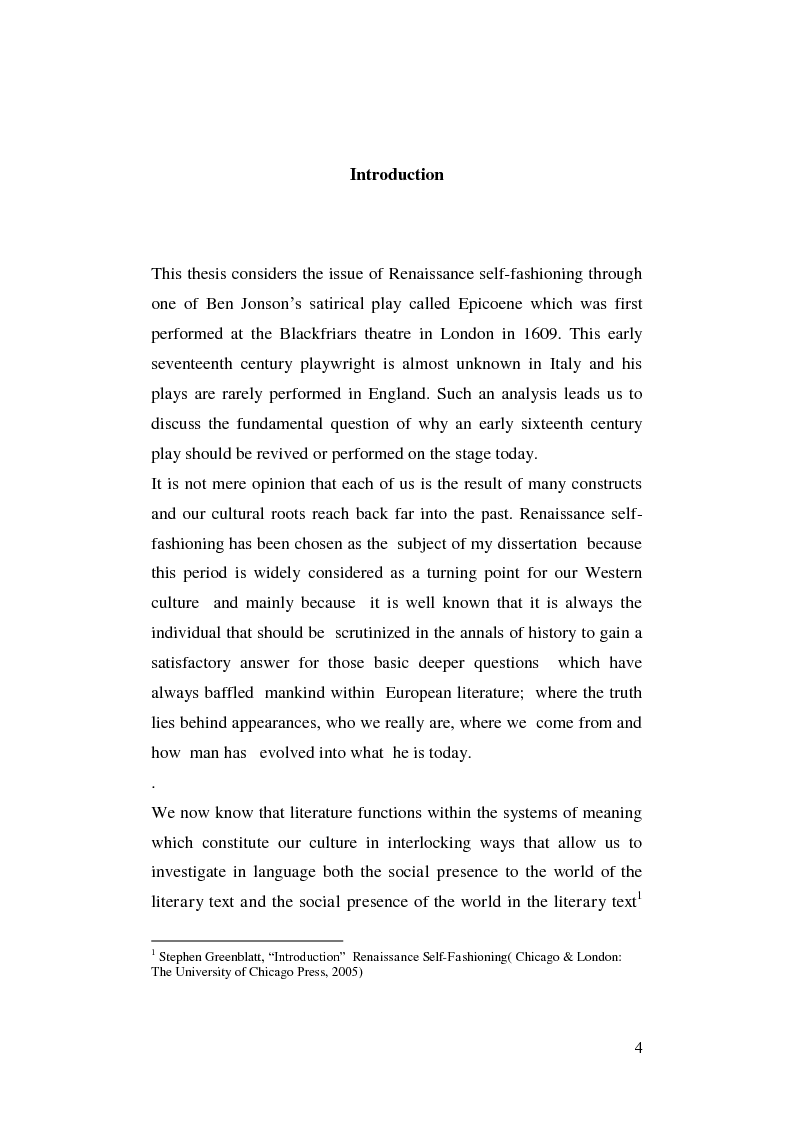 Anteprima della tesi: Renaissance Self-Fashioning: ''Epicoene'' by Ben Jonson, Pagina 2