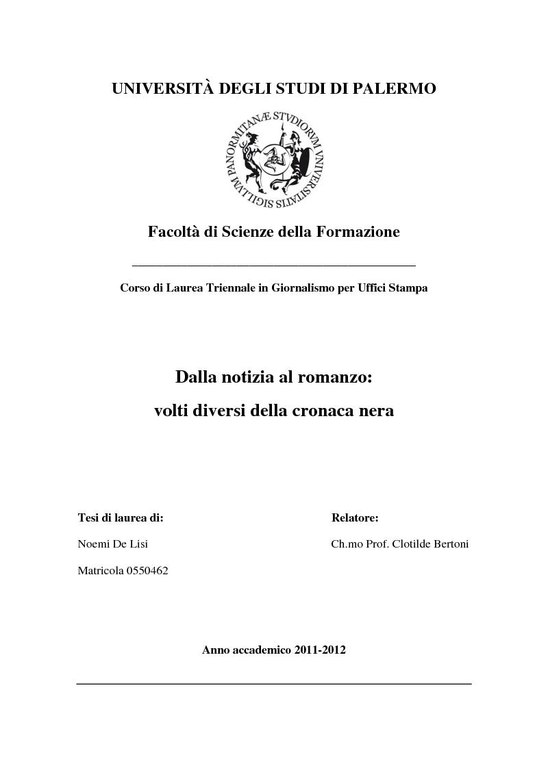 Anteprima della tesi: Dalla notizia al romanzo: volti diversi della cronaca nera, Pagina 1