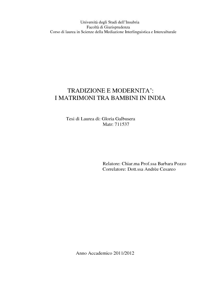 Anteprima della tesi: Tradizione e modernità: i matrimoni tra bambini in India, Pagina 1