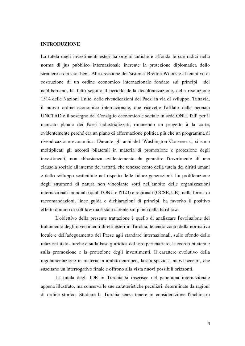 Anteprima della tesi: Il trattamento degli investimenti diretti esteri in Turchia con particolare riferimento agli investitori italiani, Pagina 2