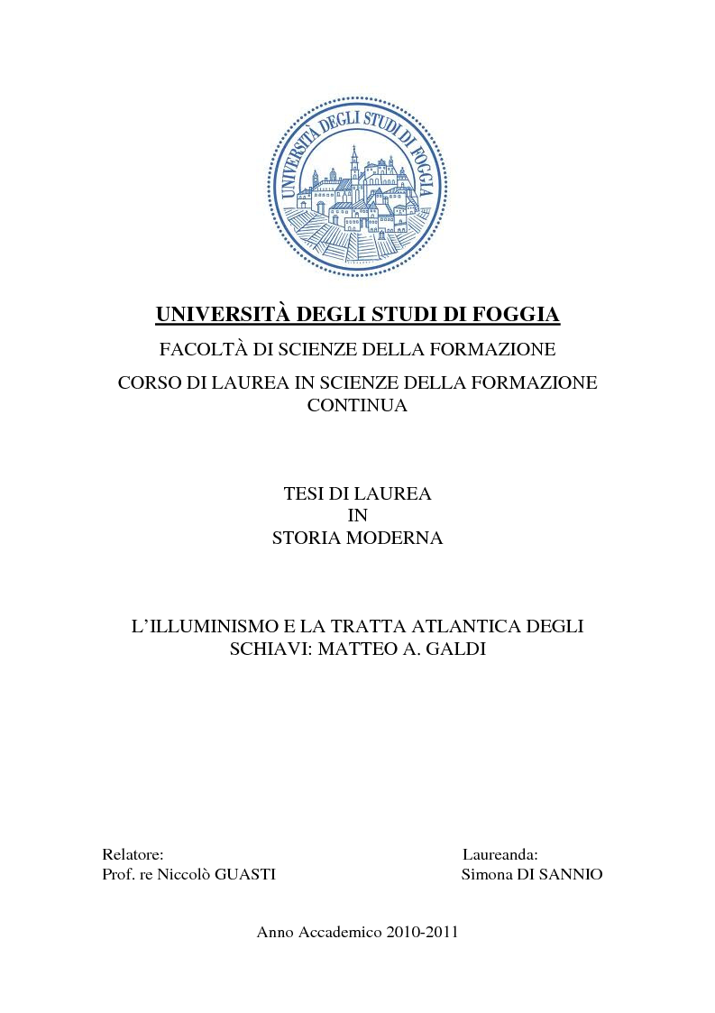 Anteprima della tesi: L'illuminismo e la tratta atlantica degli schiavi: Matteo Angelo Galdi, Pagina 1