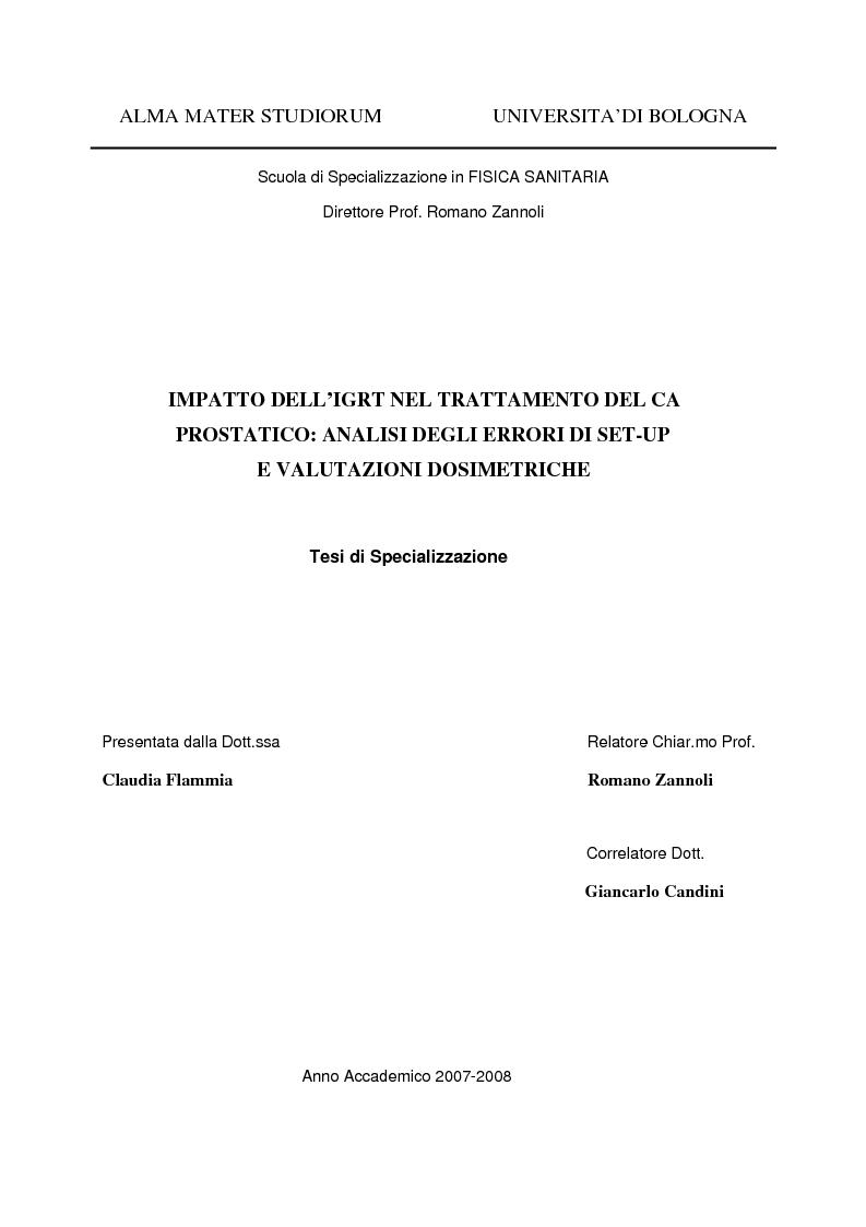 Anteprima della tesi: Impatto dell'IGRT nel trattamento del carcinoma prostatico: analisi degli errori di set-up e valutazioni dosimetriche, Pagina 1