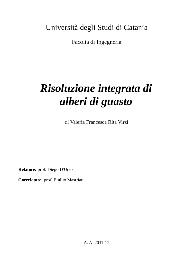 Anteprima della tesi: Risoluzione integrata di alberi di guasto, Pagina 1