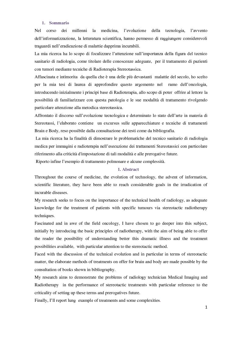 Anteprima della tesi: Tecniche di radioterapia stereotassica - Aggiornamenti tecnici, Pagina 2
