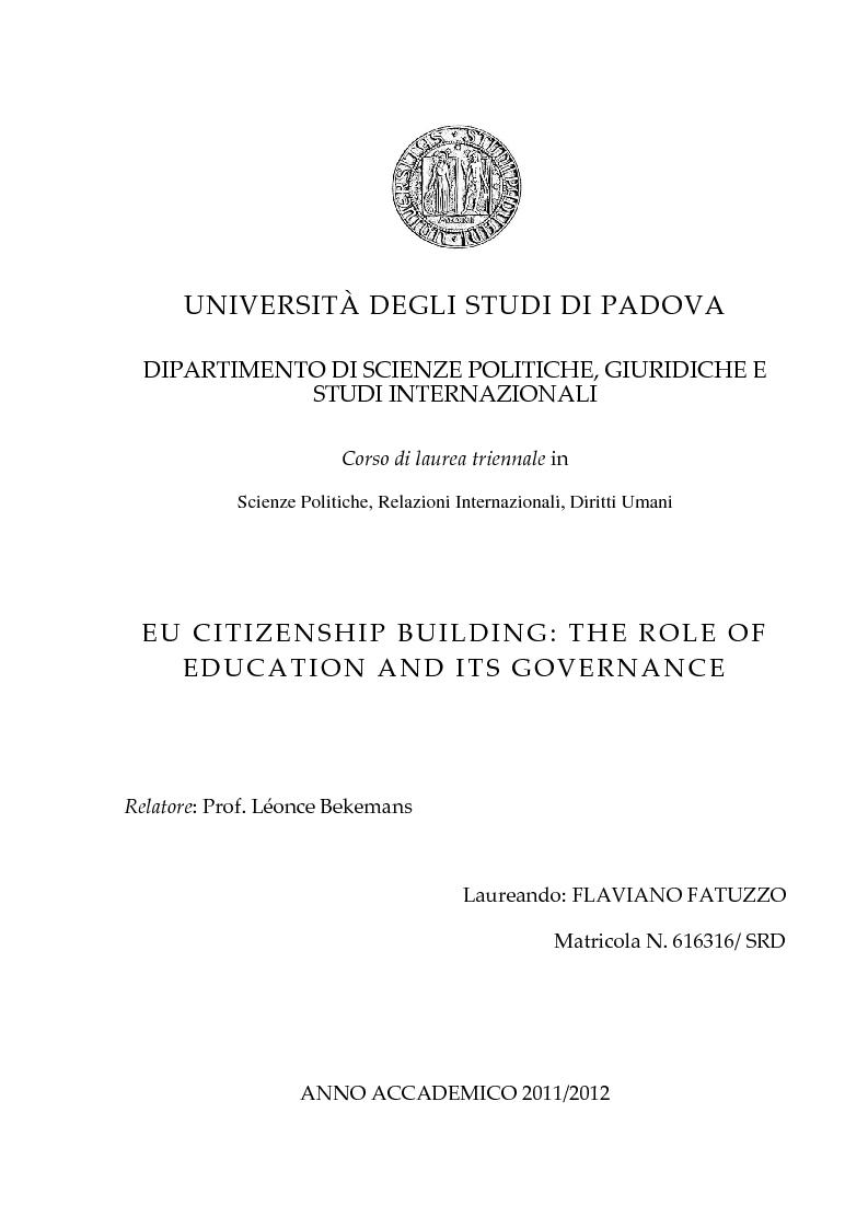 Anteprima della tesi: EU Citizenship Building: The Role of Education and its Governance, Pagina 1
