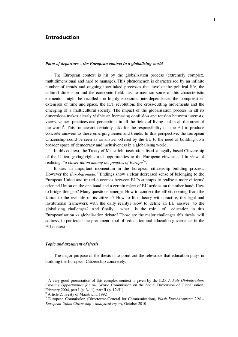 Anteprima della tesi: EU Citizenship Building: The Role of Education and its Governance, Pagina 2