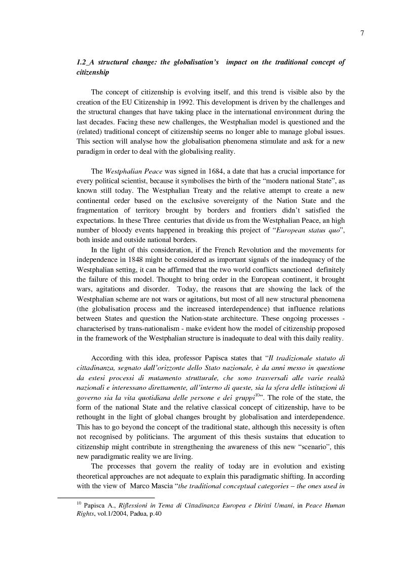 Anteprima della tesi: EU Citizenship Building: The Role of Education and its Governance, Pagina 7