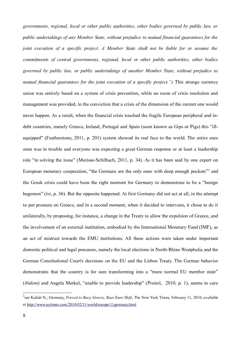Anteprima della tesi: The Euro-debt crisis: what future for the euro zone? Greece vs Germany and the reform of the EMU, Pagina 3