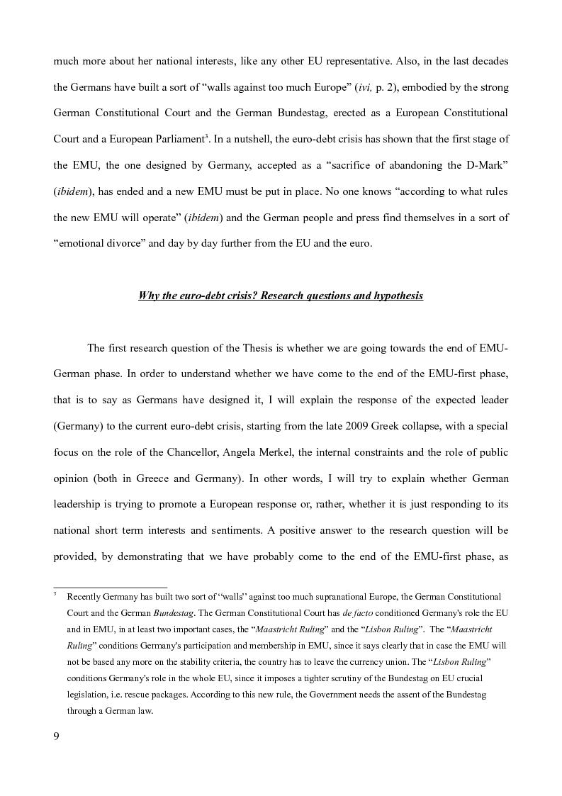 Anteprima della tesi: The Euro-debt crisis: what future for the euro zone? Greece vs Germany and the reform of the EMU, Pagina 4