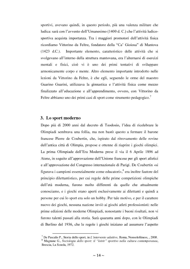 Anteprima della tesi: Lo sport: mezzo privilegiato nell'integrazione sociale del diversamente abile. Un'indagine esplorativa, Pagina 10
