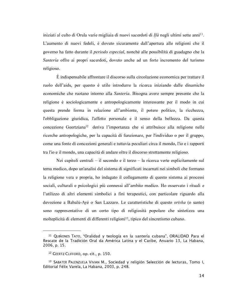 Anteprima della tesi: Esperienza di malattia e percorsi terapeutici nella Santería cubana riguardo all'HIV/aids. Una prospettiva di antropologia visuale., Pagina 10