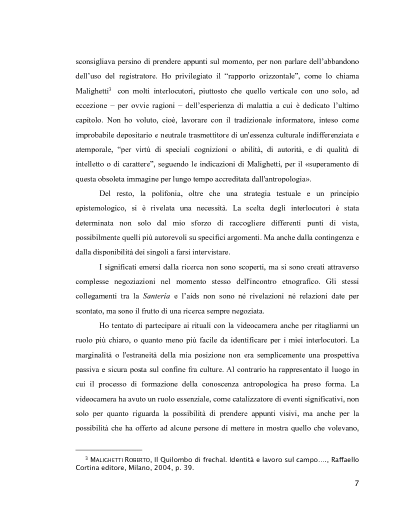 Anteprima della tesi: Esperienza di malattia e percorsi terapeutici nella Santería cubana riguardo all'HIV/aids. Una prospettiva di antropologia visuale., Pagina 3