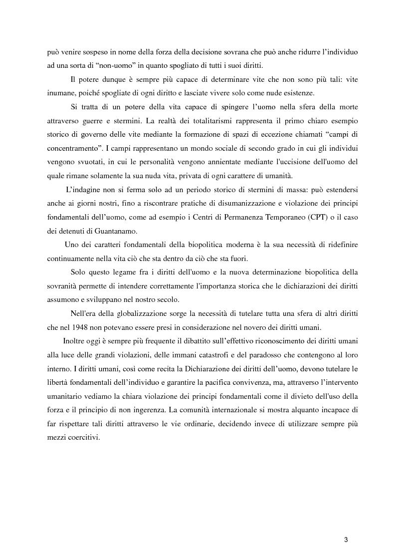 Anteprima della tesi: Diritti umani e biopotere. Riflessioni in margine ad una filosofia della catastrofe, Pagina 3