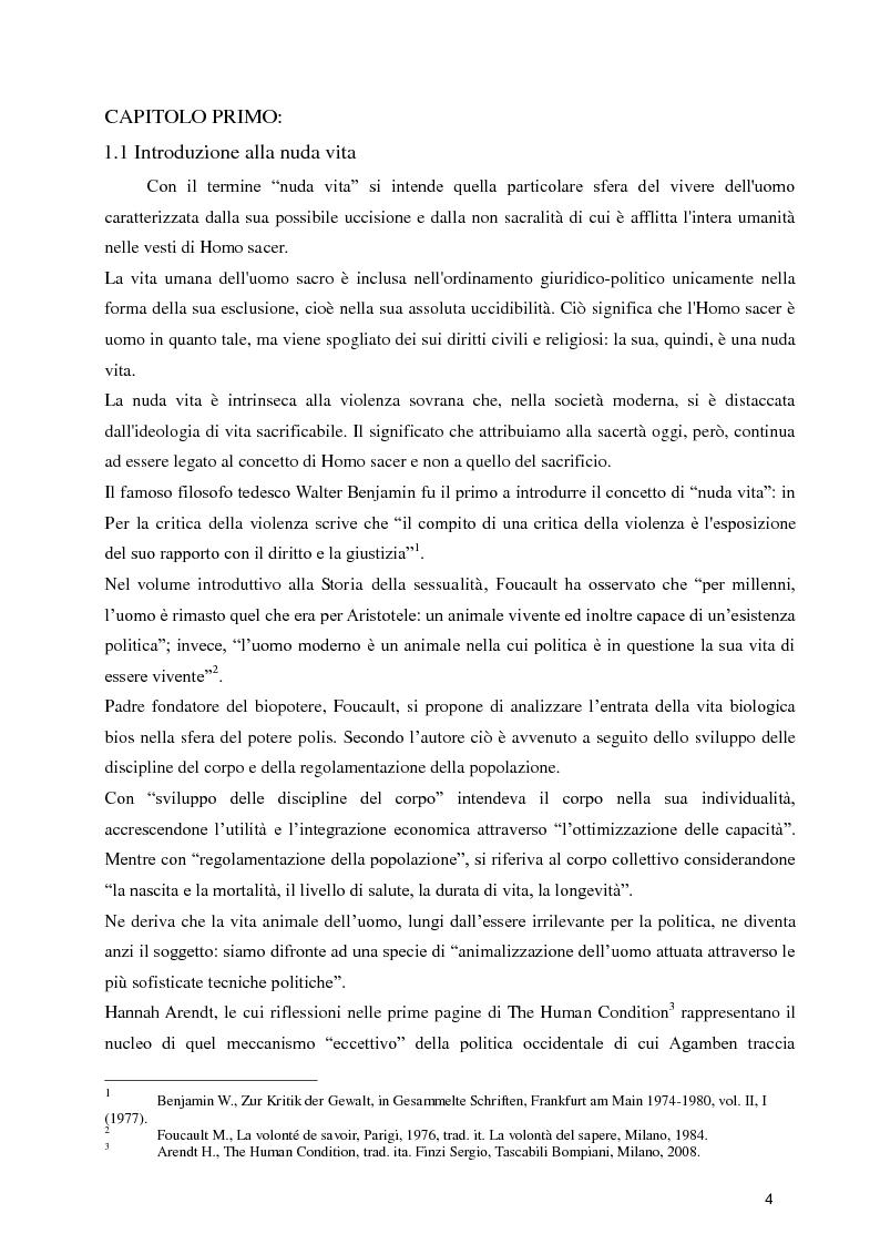 Anteprima della tesi: Diritti umani e biopotere. Riflessioni in margine ad una filosofia della catastrofe, Pagina 4