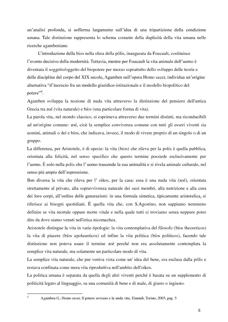 Anteprima della tesi: Diritti umani e biopotere. Riflessioni in margine ad una filosofia della catastrofe, Pagina 5