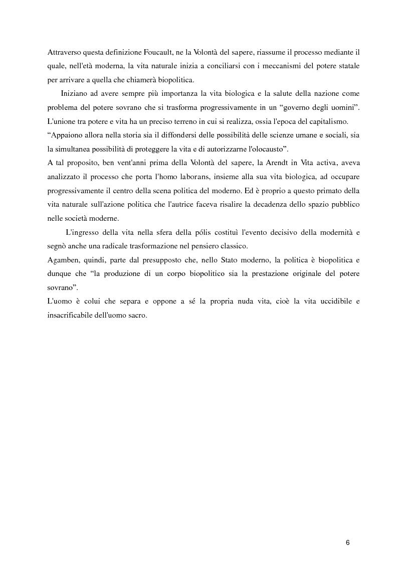 Anteprima della tesi: Diritti umani e biopotere. Riflessioni in margine ad una filosofia della catastrofe, Pagina 6
