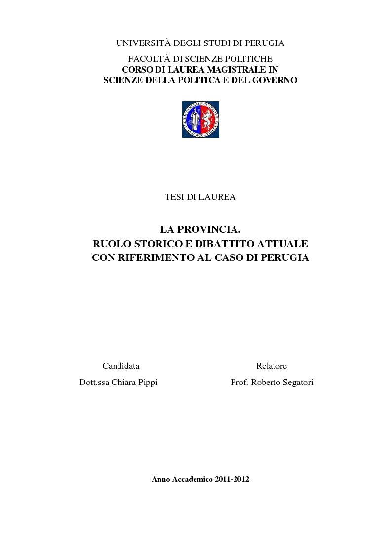 Anteprima della tesi: La Provincia. Ruolo storico e dibattito attuale con riferimento al caso di Perugia, Pagina 1