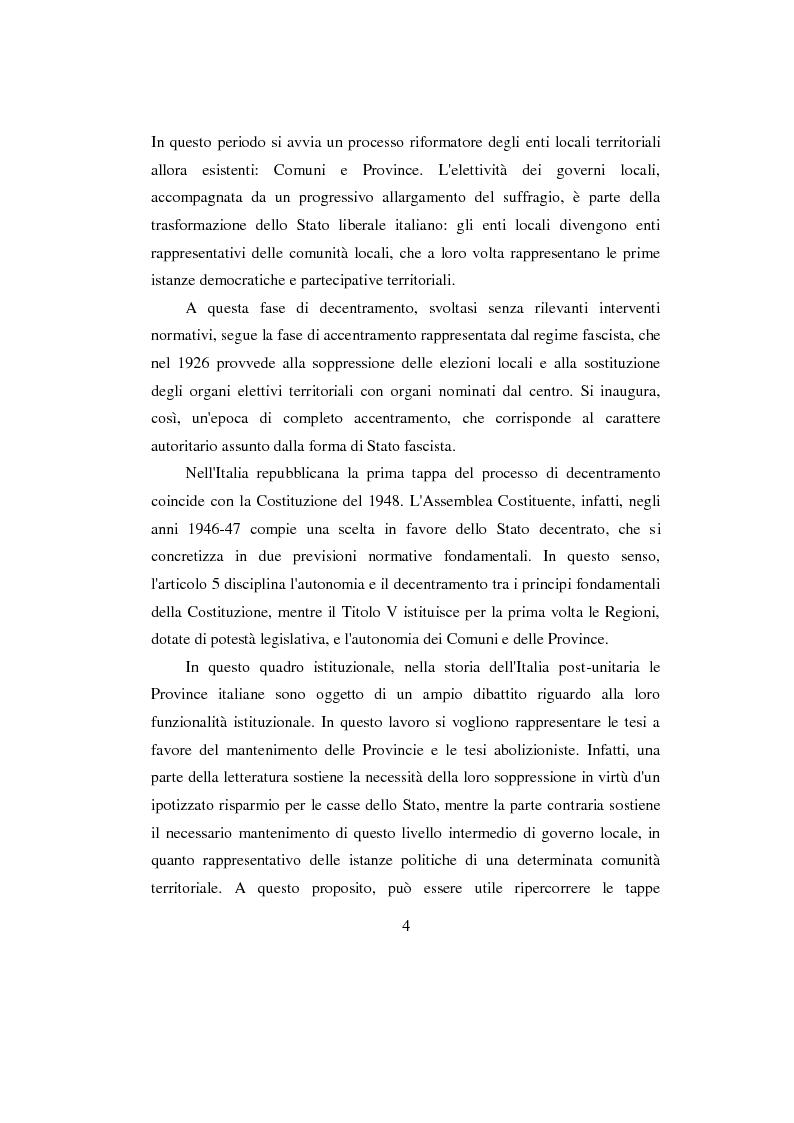 Anteprima della tesi: La Provincia. Ruolo storico e dibattito attuale con riferimento al caso di Perugia, Pagina 3