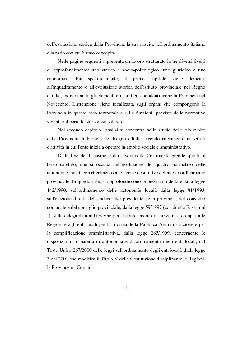 Anteprima della tesi: La Provincia. Ruolo storico e dibattito attuale con riferimento al caso di Perugia, Pagina 4
