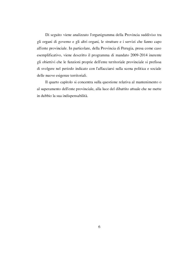 Anteprima della tesi: La Provincia. Ruolo storico e dibattito attuale con riferimento al caso di Perugia, Pagina 5